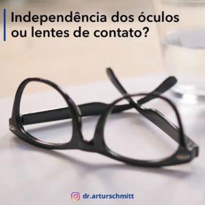 independência do óculos e lentes de contato